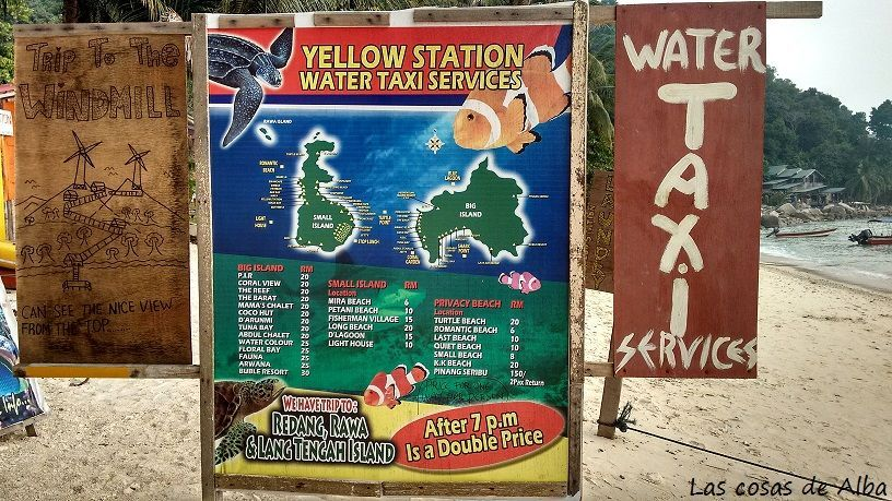Mapa islas Perhentians water taxis Malasia